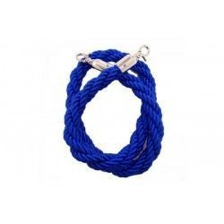 Braided cord 150 cm in blue, with chromed carabiner at both ends.