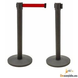 Black lacquered black pole in retractable belt two meters