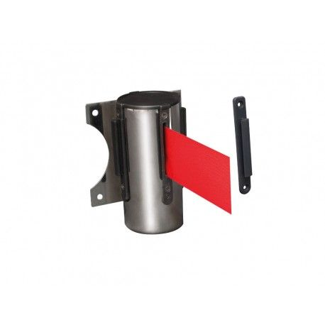 MPS 60 S Chrome retractable tape post. 3 m red tape. Weight 6.50 Kg. Stainless steel.