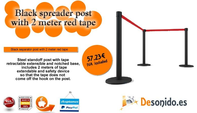 Black lacquered post with 2 meter red retractable tape